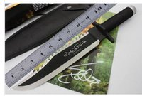 cuchillos de caza de cuchilla fija para dorar al por mayor-2018Envío gratuito Rambo First Blood 2 II Autógrafo de firma Bowie EDITION Con licencia SURVIVAL Knife