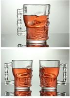 Wholesale crystal skull head whiskey glass - Drinkware 500ml Capacity Crystal Skull Head Shot Bone Vodka Whiskey Beer Glass Drink Bottle Cup Home Bar Party Barware 500 600ml
