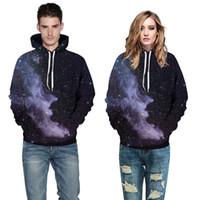 galaksi kazak erkek toptan satış-Toptan ücretsiz kargo Uzay Galaxy Erkekler / Kadınlar 3d Baskı Siyah Bulutsusu Casual Hoodie Hoody Kazak artı boyutu 3XL