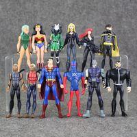 Wholesale Dc Micron - 12pcs lot avengers Superheroes DC Universe YOUNG JUSTICE Superman Robin Wonder Woman Black Widow Micron AQUALAD PVC Figure Toy