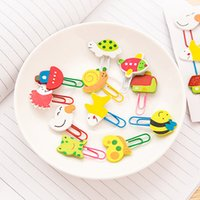Wholesale Wooden Clip Draw - Creative Gifts Lovely Cartoon Animal Paper Clips Wooden Colour Drawing Paper Clips Bookmarks Paperclip 12pcs Set Free DHL E701L