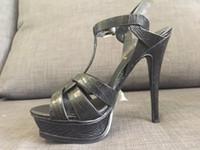 Wholesale Lizard Shoes - actual shoes! 3355 34 40 genuine leather lizard pattern sky high heels 14cm t strap sandals black beige luxury classic fashion women