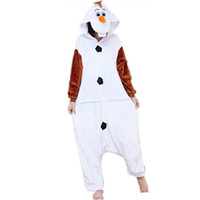 Wholesale Men Cartoon Pyjamas - 2016 Adult Olaf Snowbaby Costume Halloween Women Men Party Cospaly Snowman Olaf Onesie Pajamas Pyjamas Cartoon Elsa Anna Animal Jumpsuit