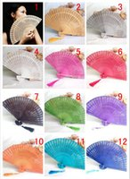 Wholesale parasol fans resale online - 2016 new hand fans Art Handmade Flower Chinese folding Bamboo Hand Fans wedding Fans Parasols