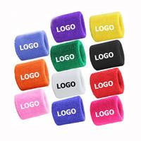 Wholesale Sweatband Logo - Can Print Your Logo OEM Avaiable Custom Polyester Sports Wristband Embroidery Sweatband Tennis ect Free Shipping to USA