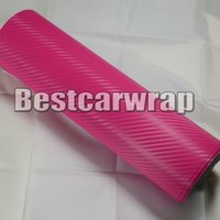 Wholesale pink laptop stickers - hot pink 3D Carbon Fiber vinyl Car wrapping Film Air Bubble Free Car styling Free shipping thickness 0.18mm Carbon laptop foil 1.52x30m Roll