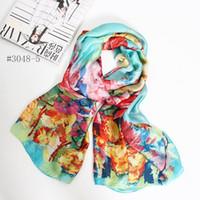 Wholesale Europ Style - China Silk scarves shawl wraps scarf 2016 popular pashmina Europ style Digital print vangogh painting 90*180CM girls' pashmina free shipping