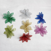 Wholesale Wholesale Artificial Xmas Trees - Christmas Hollow Plastic Flowers Sticky Powder Tree Ornaments Artificial Crafts Wedding Valentine Day Xmas Decor Multi Color 7sd F R