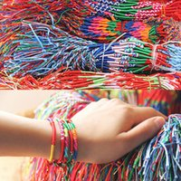 Wholesale Cheap Rainbow Bracelets - Wholesale-ABL0251(100), Bohemian Brazil Cheap Colorful Rainbow Handmade Weave Woven Braided Rope Thin String Strand Friendship Bracelet