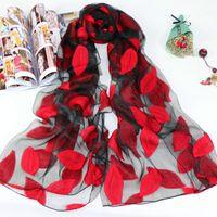 Wholesale Stole Chiffon - 2017 New Design Plain Embroidered Floral Leaves Chiffon Scarf Women Fashion Long Soft Silk Shawl Wrap Neck Stole Echarpe Foulard Sjaal