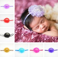 Wholesale Hands Hair Accessories - 2017 newest design paillette bows rose flower hair bands hand made flowers crown kids hair accessories infant elastic hair bands for baby