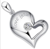 Wholesale Cheap Couples Pendants - HYWo Selling 925 Sterling Silver (without chain) heart-shaped necklace pendant, heart kiss couple retro lover jewelry Cheap Wholesale