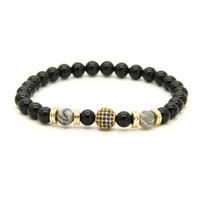 Atacado 10pcs / lot A Grade Black Onyx Stone Beads com 9mm Micro Paved Blue Cz Ball Beaded Mens Party Gift Bracelet