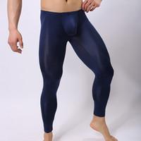 Wholesale Pouch Pants - Sexy Underwear Men Ultra Thin Long Leg Pants Man Slim Fit Nylon Solid Soft U Convex Pouch Low Waist Breathable Underpants K012-4