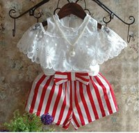 Wholesale Gilrs T Shirt - gilrs 2pcs set suits summer style girls white short sleeve strapless tops T shirts+girls stripe shorts suit baby girls set kids clothes