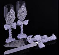 ingrosso decorazioni di torta di diamanti-2016 regalo di nozze di lusso 4 pz / set set calice torta di diamante scoop torta coltello set personalizzato decorazione bomboniere