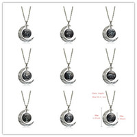 Wholesale Gif Chain - Hot Sale !10pcs Game of Thrones Necklace A Song Of Ice And Fire Movie Jewelry Glass Cabochon Silver Crescent Moon Pendant Necklace Women Gif