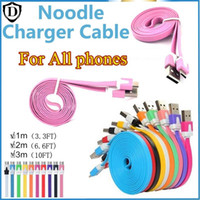 Wholesale I Phone Noodle Cable Charger - 1M 2M 3M Flat Noodle Micro USB Charger Data Sync Cable Cord Flat Cable For Samsung s3 S4 S5 S7 I phone 6 plus