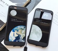 Wholesale Moon Cases - mirror phone case cases for iphone7 iphone 7 6 6S plus rubber Acrylic defender case moon earth protector case GSZ166