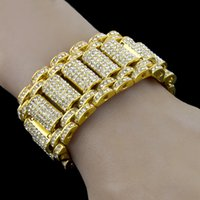 Wholesale Bracelet Styles Bling - Hip Hop Rock Style Simulate Diamond Iced Out Bracelets Bangles for Men and Women Bling Tennis Chain Hip Hop Bracelet