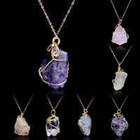 düzensiz doğal taş kolyeler kristal toptan satış-Çok Renkli El Yapımı Düzensiz Ametist Citrine Tel Sarılmış Kolye Kolye Kadınlar Doğal Taş Kristal Kuvars Florit Kolye Takı