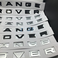 Wholesale Hood Stickers - 10pcs For Range Rover Badge Letter Emblem Gloss Or Matte Black Silver Hood Rear Trunk Tailgate Emblem Sticker Nameplate Decal