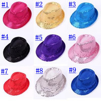 Wholesale Kids Plain Top - Sequin adult   children hats spring summer stage Cosplay Jazz cap Hats Fashion lady kids Street Headwear caps 20pcs lot
