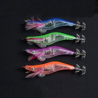 Wholesale Shrimp Electronic - Hot! 4 Color 10cm 12g LED Electronic Luminous Squid Jig Night Fishing Wood Shrimp Lure Retail Plastic box packing high quality