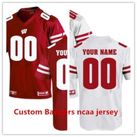 Wholesale Custom Jersey Embroidery - Custom Wisconsin Badgers UA Customized White red stitched ncaa Jersey embroidery name number free shipping
