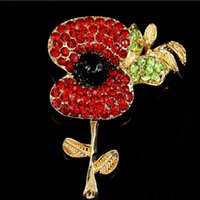 Barato Rhinestone W Pin-Hot Venda Moda Jóias Pin Red Cristal Rhinestone Poppy Flower broche UK Remembrance Day W breastpin presente TOP