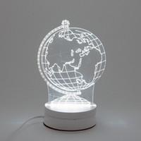 iluminación de barco pirata al por mayor-6W Earth LED Night Light AC220V Input DIY Table Lamp Laser Engraving Multi-Choice Pattern(3-Color pcs) on Acrylic 3D Creative Light