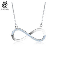 Wholesale Brilliant Silver White - 2017 AAA Brilliant Austrian CZ Infinity Pendant Silver Plated Necklace for Women Lover Fashion Jewelry Gift ON112