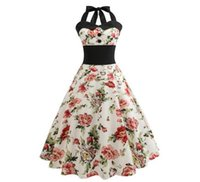 Compra Halter Retrò-Retro abiti floreali di stile Hepburn Halter senza spalline elegante vestito da cocktail da cocktail Dress Rockabilly Vintage SF09-4