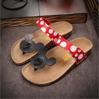 Wholesale Cheapest Leather Slippers - Mickey Mouse Women Sandals Shoes Flip Flops Cork Cartoon Summer Shoes Fashion Cheap Flat Heel Women Slippers US 5.5-8