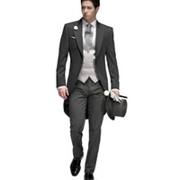 Wholesale Elegant Black Suits For Men - 2017 Tailored Elegant Bridegrom Gray morning suit Wedding tuxedo for men groomwear 5 pieces suits set (jacket+pants+vest)
