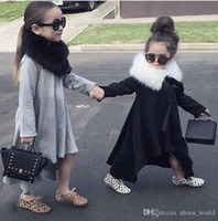 Wholesale Loose T Shirts For Girls - 2017 New Arrival Baby Girl Autumn Dress Max Batwing Loose Asymmetric Long Sleeve T-Shirts For Kids Costume Casual Black and Gray