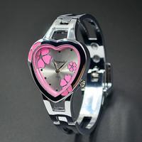 Wholesale Heart Shaped Fashion Glasses - Fashion Women Girl Chaoyada heart-shaped flowers style dial full Stainless steel Bracelet Wrist Watch 779