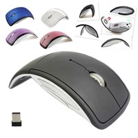 tapis de souris optique sans fil achat en gros de-Souris Hot Ultrathin 2.4GHz Pliable Wireless Optical Mouse Arc avec récepteur USB Mini pour Pad PC portable ordinateur portable