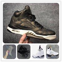 botas premium al por mayor-Barato 5s v METALLIC CAMO HEIRESS Zapatillas de baloncesto de cemento blanco Burdeos de 5 V Zapatillas deportivas para hombre Zapatillas de deporte para hombre Zapatillas deportivas