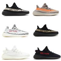 Wholesale Col Light - (With Original box)2017 SPLY-350 Boost V2 2016 New Kanye West Boost 350 V2 SPLY Running Shoes Grey Orange Stripes Zebra Bred Black Red 8 Col
