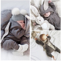 Wholesale Warm Infant One Piece Clothing - Wonderful Newborn Infant Baby Girl Boy Rabbit 3D Ear Warm Romper Jumpsuit Outfits Clothes baby cute one-piece clothes