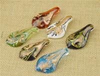 Wholesale Craft Murano - 2016 Glass Pendants Necklace Gold Dust Murano Glass Jewelry Leaf Shaped Lampwork Glaze Pendant Fit DIY Craft Jewelry