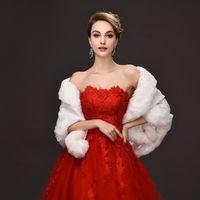ingrosso stole di avvolgimento nero-2016 inverno avvolge la pelliccia da sposa 55 cm * 150 donne avorio scialle di lana calda rosso / nero avvolge la signora per l'occasione speciale accessorio nuziale