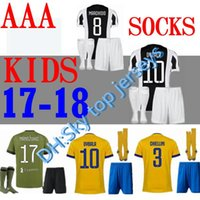 Wholesale Best Youth Jerseys - best quality 17 18 kids kit Soccer socks jersey kits 2017 2018 MARCHISIO D.COSTA DYBALA HIGUAIN Children youth Football shirt