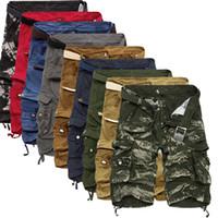 cargaison multi poche achat en gros de-Gros-Top vente 2016 été veau-longueur Cargo mens shorts multi-poches solides hommes Beach Shorts Capris
