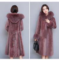 Wholesale Big Breast Size - Women's Coat winter New Big Size Women's Dress Fox Fur Outerwear Pink Out coat