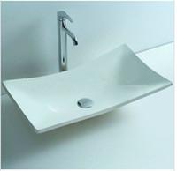 banyo makyaj gemileri toptan satış-Dikdörtgen Banyo Katı Yüzey Taş Sayaç Üst Gemi Lavabo Moda Vestiyer Taş Vanity Lavabo RS3808