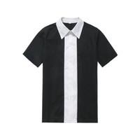 Wholesale Rockabilly Shirt L - Wholesale-Wholesale Clothing Rockabilly Men Clothing Black White Color Vintage Shirt Man's Retro Inspired 60's Bowling Clothes