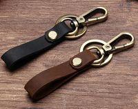 hebillas de anillos al por mayor-Llavero correa de cuero llavero llavero accesorios regalo de cumpleaños para novio coche titular de la llave hombre de negocios hebillas de cinturón llave