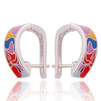 Wholesale Hot Desing - 925 Sterling Silver Earring Zirconia Brand Desing Earrings For Women Luxury Cloisonne Jewelry 2017 Hot Sale
